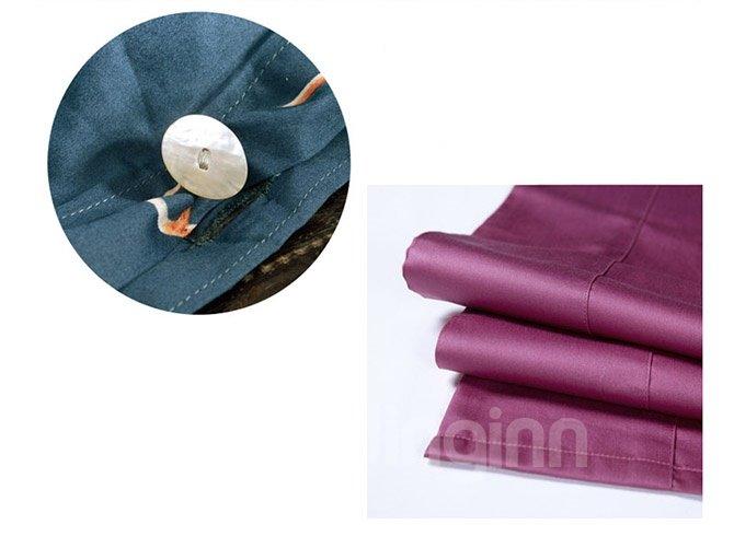 Noble Concise Style Dark Blue Cotton 4-Piece Duvet Cover Sets