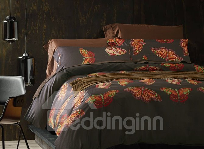 New Style Noble Butterfly Print Cotton 4-Piece Duvet Cover Sets