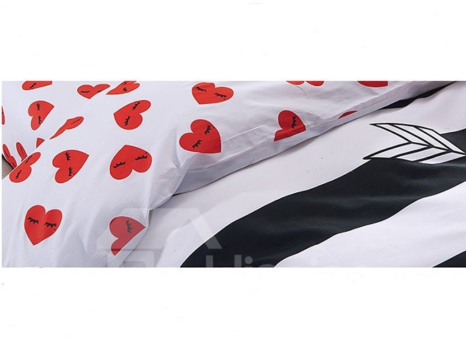 Cartoon Love Heart Black White Striped Prints Cotton 4-Piece Duvet Cover Sets
