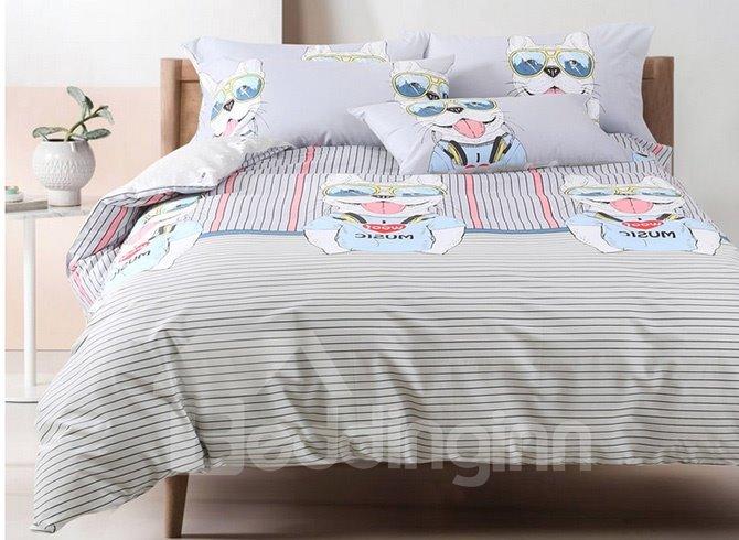 High Class Cute Cartoon Dog and Stripe Cotton 4-Piece Duvet Cover Sets
