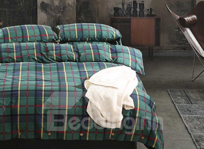 High-grade Neutral Plaid Pure Cotton 4-Piece Duvet Cover Sets