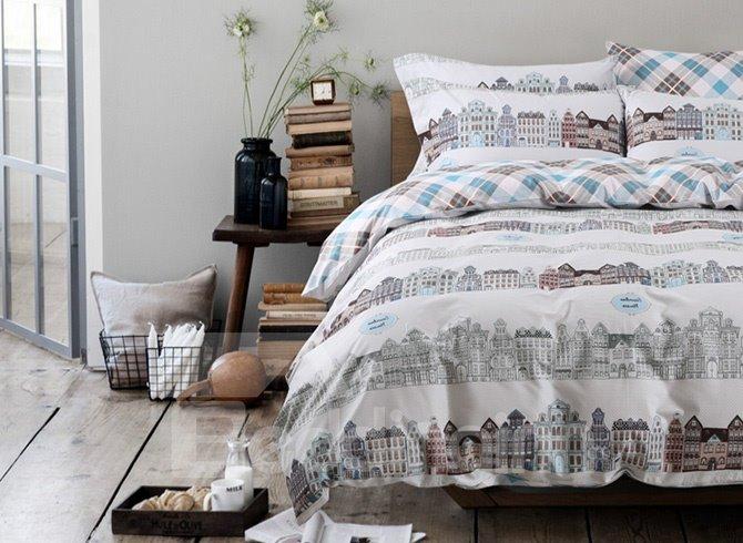 Hot Selling Creative Cityscape Design Cotton 4-Piece Duvet Cover Sets