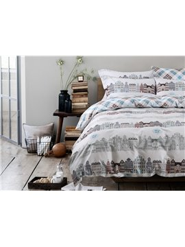 Hot Selling Creative Cityscape Design Cotton 4-Piece Duvet Cover Sets