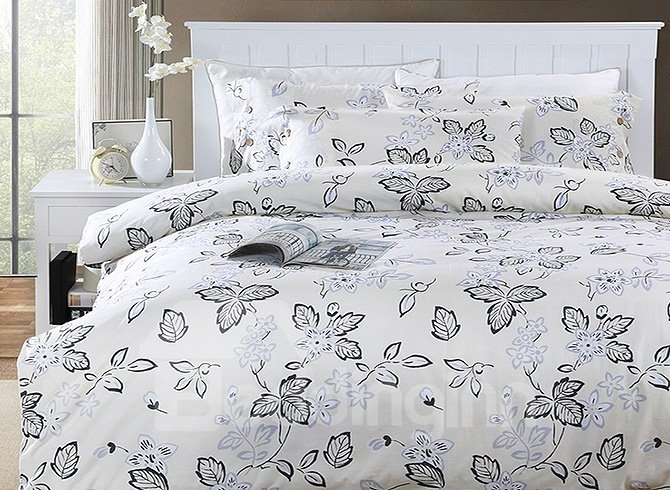 Concise Rustic Style Flower Branch Cotton 4-Piece Duvet Cover Sets