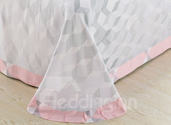 Fancy Pink Cube Pure Cotton 4-Piece Duvet Cover Sets