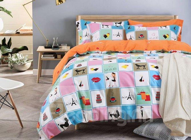 Dreamy World Cartoon Pattern Cotton 4-Piece Duvet Cover Sets