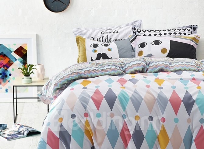 Magnificent Argyle and Polka Dot Print 100% Cotton 4-Piece Duvet Cover Sets