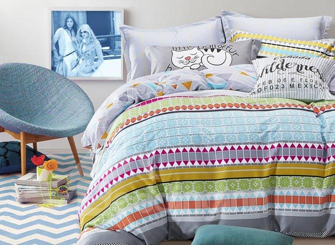 Elegant Colorful Stripe Pure Cotton 4-Piece Duvet Cover Sets