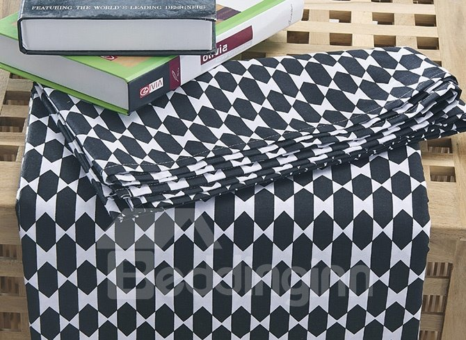 Classic Black and White 100% Cotton 4-Piece Duvet Cover Sets