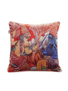India Style Soldiers Paint Throw Pillow
