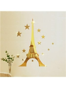Creative Eiffel Tower Design Removable Mirror 3D Wall Sticker