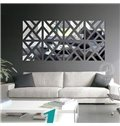 Unique Geometric Pattern Removable Mirror 3D Wall Sticker 1 Set (4 Pieces)