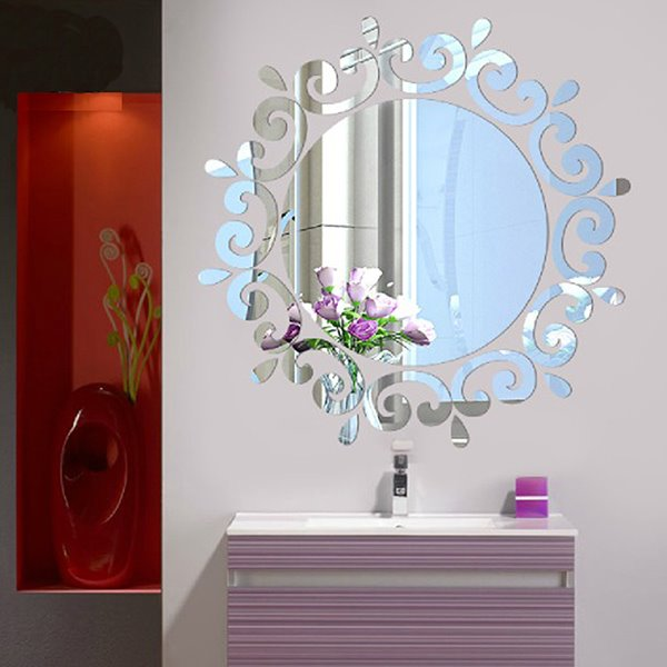 Silver/Golden Round Mirror with Frills Acrylic 3D Waterproof Wall Sticker