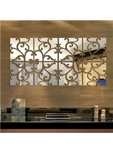 Unique Floral Pattern Removable Mirror 3D Wall Sticker 1 Set (32 Pieces)