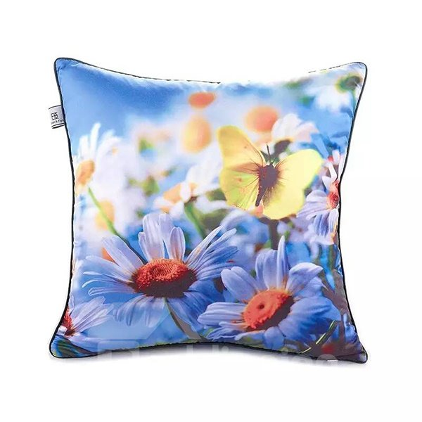 Yellow Butterfly and Purple FlowersPaint Throw Pillow