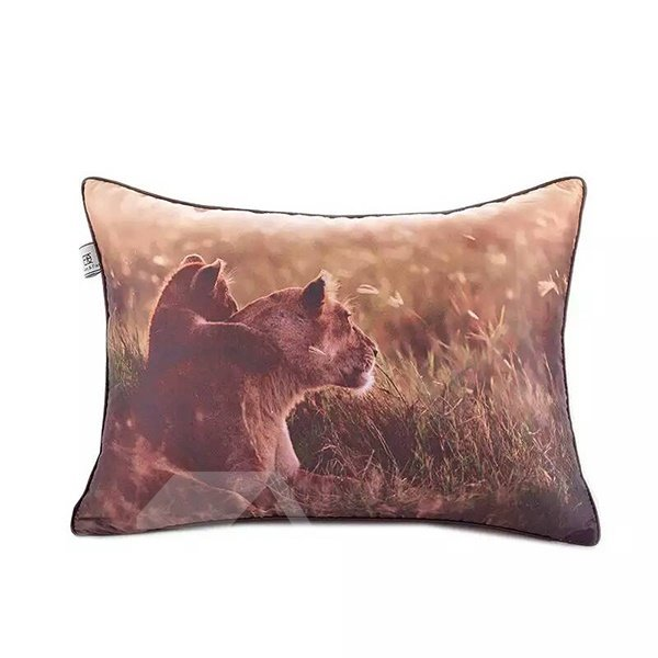 Cult Baby Lion and Mother Lion Paint Throw Pillow