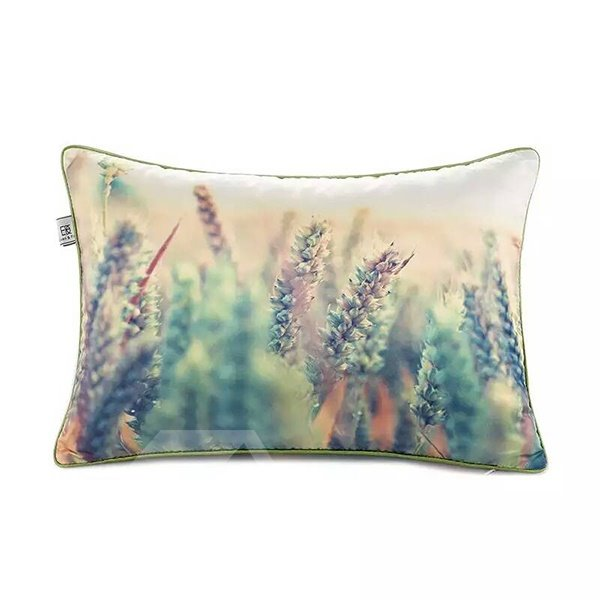Cyan Wheat Stalks Paint Throw Pillow