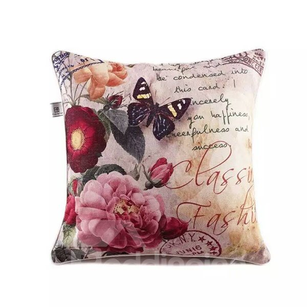 Butterfly and Peony Paint Throw Pillow