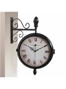 Creative Double Sides European Style Iron Wall Clock with Quiet Voice