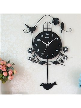 European Pastorale Style Night Stand Wall Clock with Quiet Voice