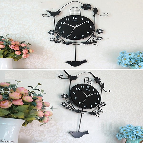 Elegant Pastorale Style Night Stand Wall Clock with Quiet Voice