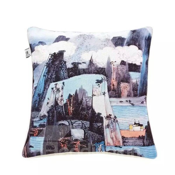 The Natural Beauty of Lakes and Mountains Paint Throw Pillow