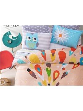 Colorful Dream Cute Owl Print Kids Cotton 4-Piece Duvet Cover Sets