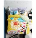Cute Bird Singing Under The Sun Print Kids Cotton 4-Piece Duvet Cover Sets
