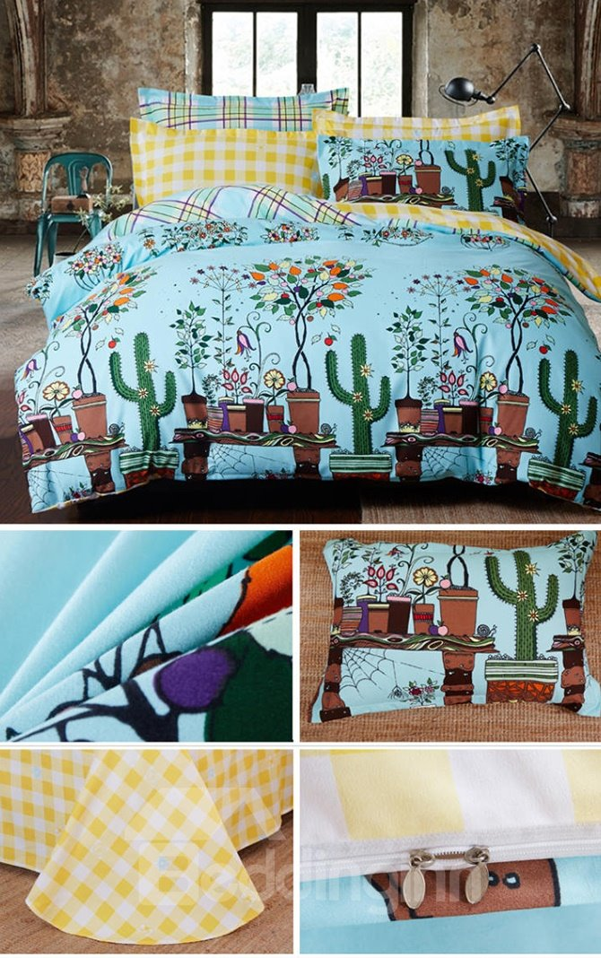 Garden of Happiness Varies Plants Pattern Kids Cotton 4-Piece Duvet Cover Sets
