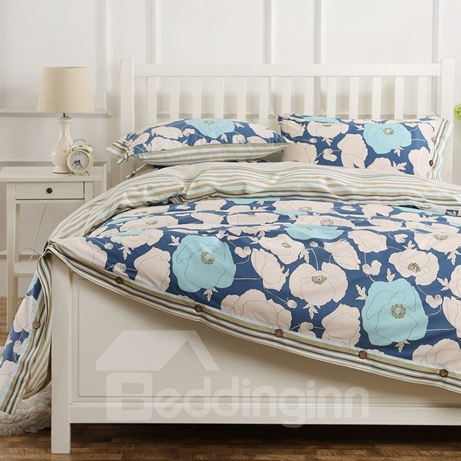Spring Fresh Big Flower Pattern Kids Cotton 4-Piece Duvet Cover Sets