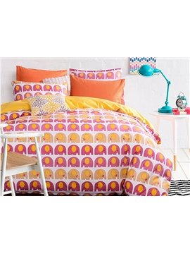 Little Cute Elephant Pattern 100% Cotton Kids Duvet Cover Sets