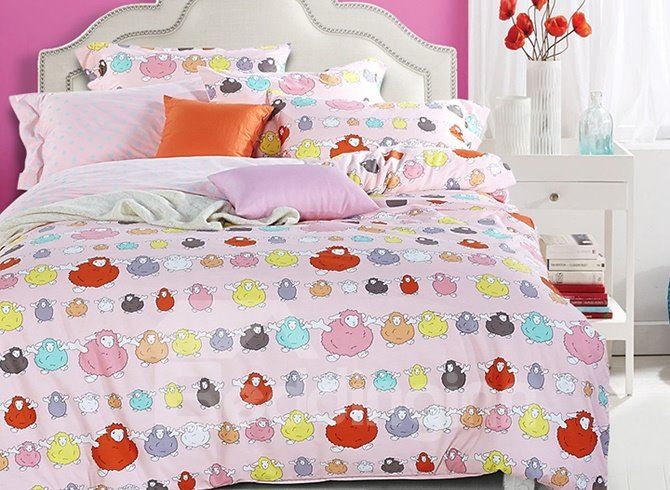 Colorful Lovely Sheep Pattern Kids Cotton 4-Piece Duvet Cover Sets