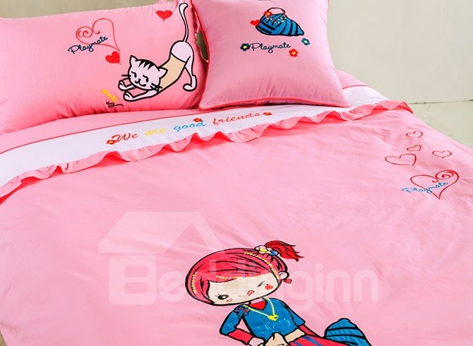 Pink Girly 100% Cotton Kids Duvet Cover Sets