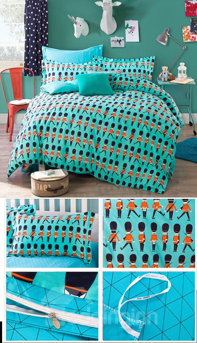 Cute Little British Guard Pattern Kids Cotton 4-Piece Duvet Cover Sets