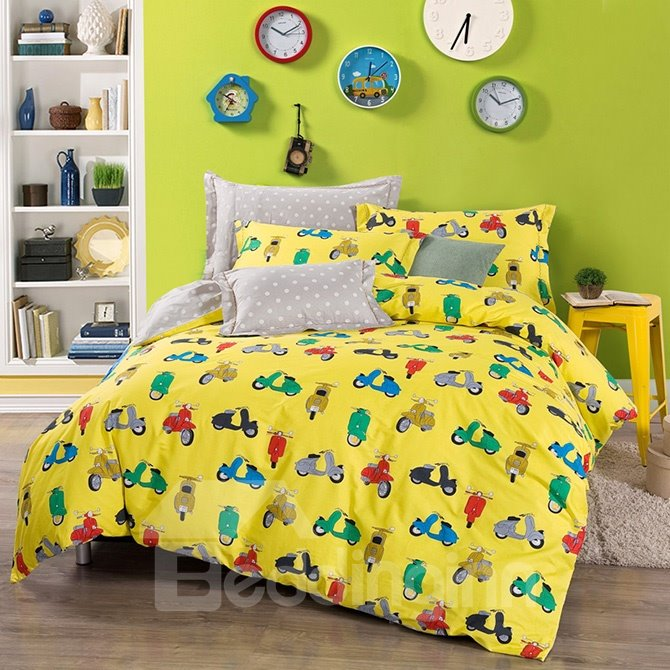 Bright Yellow Motocycle Pattern Kids Cotton 4-Piece Duvet Cover Sets