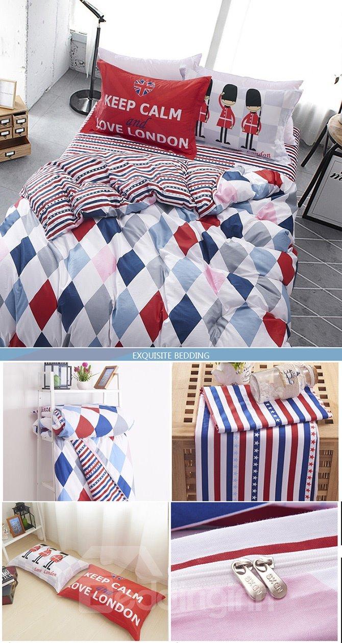 Colorful and Fresh Plaid Pattern Kids Cotton 4-Piece Duvet Cover Sets