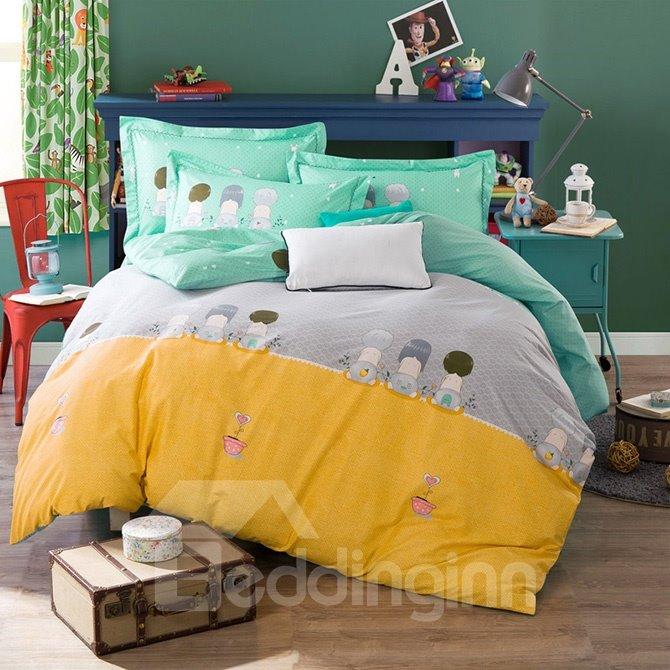 High Quality Simple Style Print Kids 100% Cotton 4-Piece Duvet Cover Sets