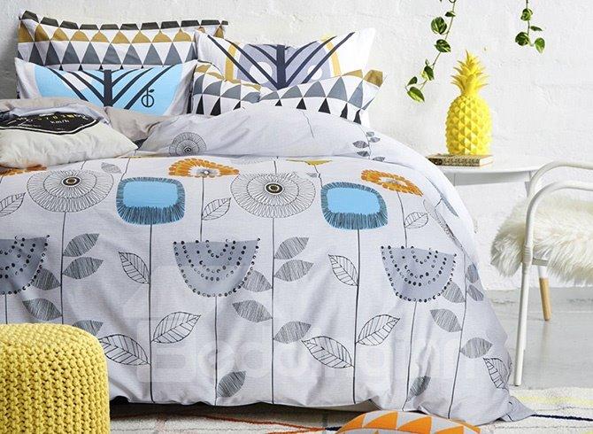 Growing Freely Plants Pattern Kids Cotton 4-Piece Duvet Cover Sets