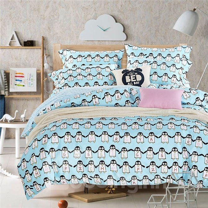 Adorable Penguin Pattern Kids Cotton 4-Piece Duvet Cover Sets