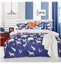 Dark Blue Animals Pattern Kids Cotton 4-Piece Duvet Cover Sets