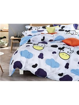 Lovely Cow Pattern Kids Cotton 4-Piece Duvet Cover Sets
