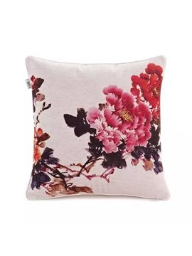 Chinese Peonies Paint Throw Pillow