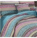 Bohemian Style Stripes Design Cotton Patchwork 3-Piece Bed in a Bag