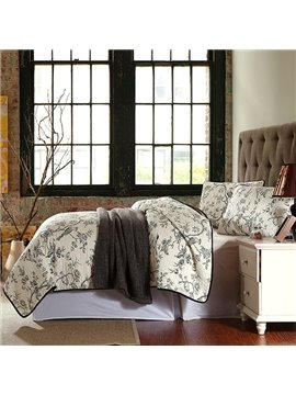 American Pastoral Style Birds and Flowers Printing 3-Piece Cotton Bed in a Bag