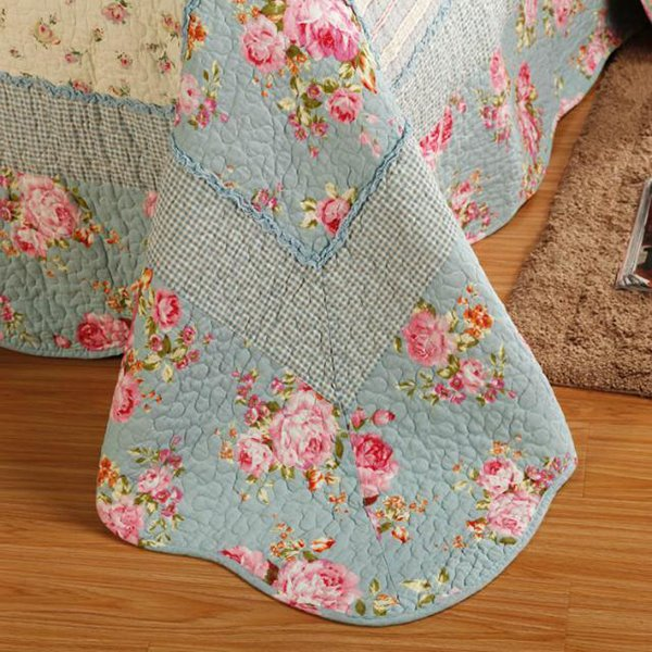 Romantic Red Flowers Blue 3-Piece Cotton Bed in a Bag