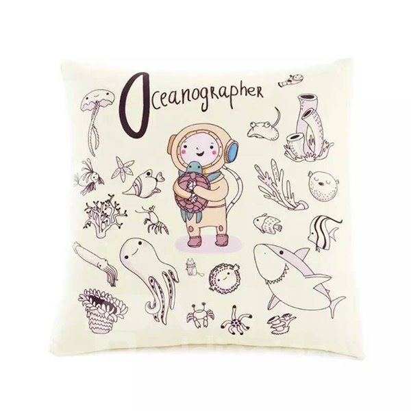 Cartoon Lovely Boy in the Sea Paint Throw Pillow Case