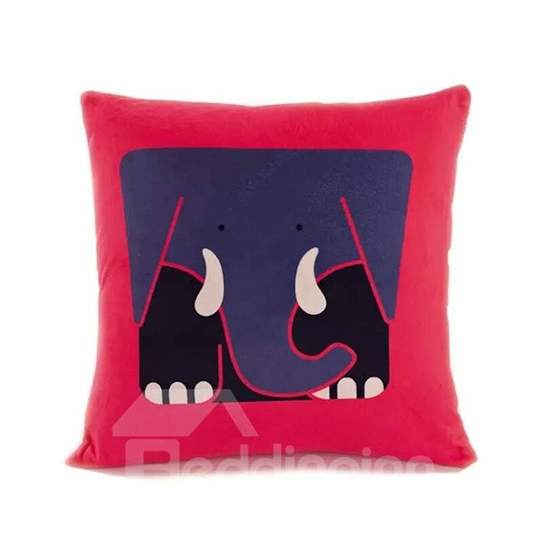 Cartoon Square Elephant Paint Throw Pillow Case