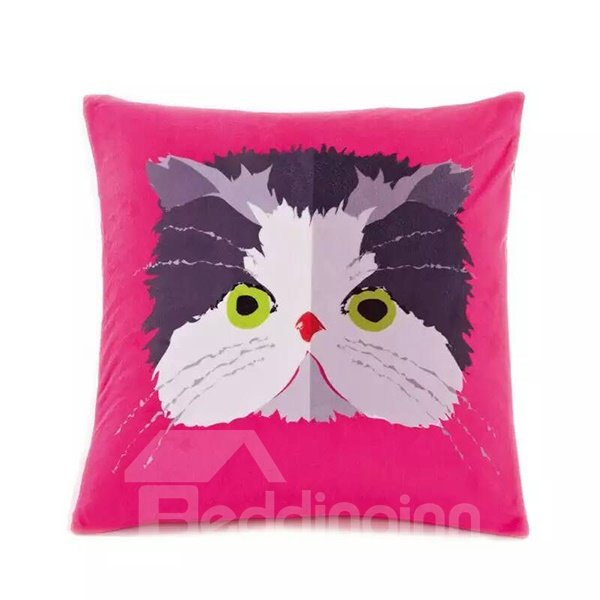 Cartoon Big Face Cat Paint Throw Pillow Case