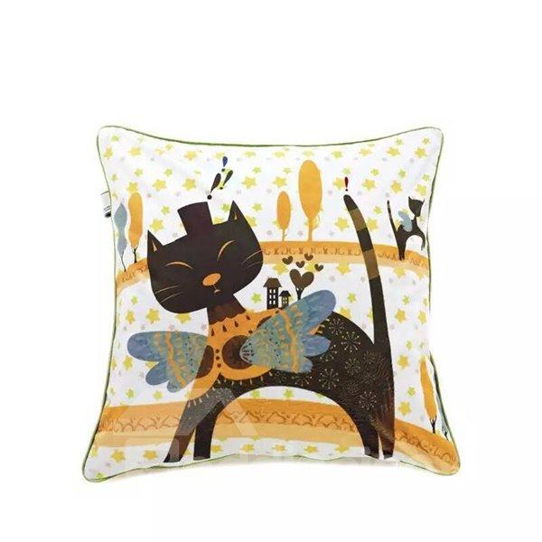 Cartoon Black cat Paint Throw Pillow Case