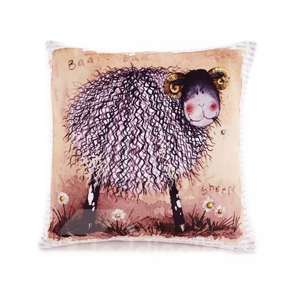 Cartoon Sheep Paint Throw Pillow Case